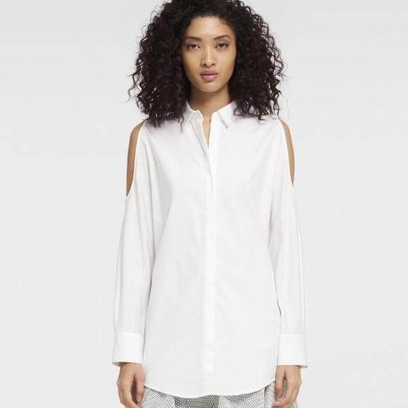 919b6f15655eb7 DKNY White Cold Shoulder Shirt
